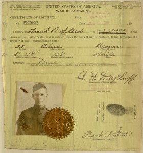 "Certificate of Identity of Frank Steed. Extracted from the ""Manuscript Journals of Frank R. Steed US soldier in WWI France, 1918-1919."" Digital Library, Villanova University."